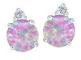 Original Star K™ Round 7mm Pink Created Opal and Cubic Zirconia Earrings Studs style: 305858