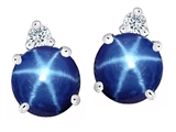 Original Star K™ Round 7mm Created Star Sapphire Earring Studs