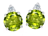 Original Star K Round 7mm Genuine Peridot Earring Studs