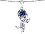 Original Star K Cat Lover Pendant with September Birthstone Created Sapphire