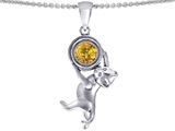 Original Star K™ Cat Lover Pendant with November Birthstone Genuine Citrine style: 305873