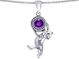Original Star K Cat Lover Pendant with February Birthstone Genuine Amethyst