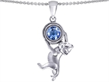 Original Star K Cat Lover Pendant with March Birthstone Simulated Aquamarine
