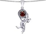 Original Star K™ Cat Lover Pendant with January Birthstone Genuine Garnet style: 305876