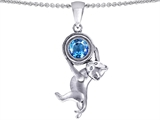 Original Star K Cat Lover Pendant with December Birthstone Genuine Blue Topaz