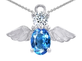 Original Star K™ Angel Of Love Protection Pendant With Oval 8x6mm Simulated Blue Topaz style: 305879