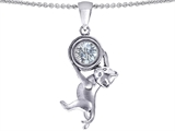 Original Star K Cat Lover Pendant with April Birthstone Genuine White Topaz