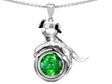 Original Star K Dog Lover Pendant with May Birthstone Round 7mm Simulated Emerald