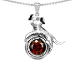 Original Star K™ Dog Lover Pendant with January Birthstone Round 7mm Genuine Garnet