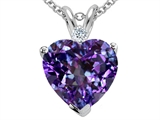Tommaso Design™ 8mm Heart Shape Simulated Alexandrite And Genuine Diamond Pendant style: 305888