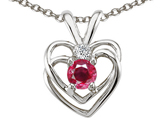 Tommaso Design Round Created Ruby and Genuine Diamond Double Heart Pendant