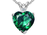 Tommaso Design™ Heart Shape 8mm Simulated Emerald And Genuine Diamond Pendant