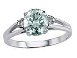 Tommaso Design Round 7mm Genuine Aquamarine and Diamond Ring