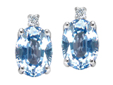 Tommaso Design Oval 8x6mm Simulated Aquamarine and Genuine Diamond Earrings