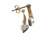 Tommaso Design Two Tone Genuine Diamond Heart Shape Hanging Dangling Earrings