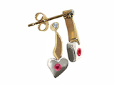 Tommaso Design Two Tone Genuine Ruby and Diamond Heart Shape Hanging Dangling Earrings