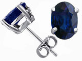 Tommaso Design Oval 7x5 Genuine Sapphire Earring Studs