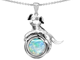 Original Star K™ Dog Lover Pendant with October Birth Month Round 7mm Simulated Opal style: 305901