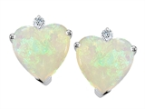 Tommaso Design 7mm Heart shape Genuine Opal and Diamonds Earring Studs