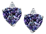 Tommaso Design™ Heart Shape Simulated Alexandrite and Genuine Diamonds Earring Studs