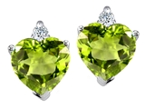 Tommaso Design™ Heart Shape Peridot and Genuine Diamonds Earring Studs