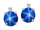 Tommaso Design Round Created Star Sapphire and Diamond Earring Studs