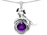 Original Star K Dog Lover Pendant with February Birthstone Round 7mm Genuine Amethyst