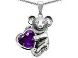 Original Star K™ Love Bear Hugging Birthstone of February 8mm Heart Shape Genuine Amethyst
