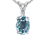 Tommaso Design Oval 9x7mm Simulated Aquamarine and Genuine Diamond Pendant