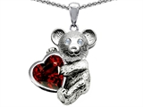 Original Star K Love Bear Hugging Birthstone of January 8mm Heart Shape Genuine Garnet