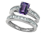Original Star K™ Emerald Cut Simulated Alexandrite Wedding Set