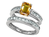 Original Star K Emerald Cut Genuine Citrine Wedding Set