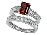 Original Star K Emerald Cut Genuine Garnet Wedding Set
