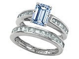 Original Star K™ Emerald Cut Simulated Aquamarine Wedding Set style: 305923