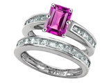 Original Star K Emerald Cut Created Pink Sapphire Wedding Set