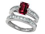 Original Star K Emerald Cut Created Ruby Wedding Set