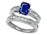 Original Star K Emerald Cut Created Sapphire Wedding Set