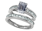 Original Star K™ Emerald Cut Genuine White Topaz Wedding Set style: 305930