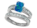 Original Star K Emerald Cut Created Blue Opal Wedding Set