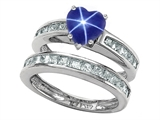 Original Star K Heart Shape Created Star Sapphire Wedding Set