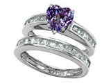 Original Star K Heart Shape Simulated Alexandrite Wedding Set