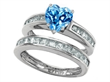 Original Star K Heart Shape Genuine Blue Topaz Wedding Set
