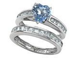Original Star K™ Heart Shape Simulated Aquamarine Wedding Set style: 305941