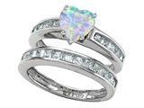 Original Star K Heart Shape Created Opal Wedding Set