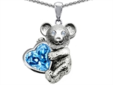 Original Star K™ Love Bear Hugging Birthstone of December 8mm Heart Shape Genuine Blue Topaz