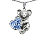 Original Star K™ Love Bear Hugging Birthstone of March 8mm Heart Shape Simulated Aquamarine