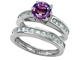 Original Star K Round Simulated Alexandrite Wedding Set