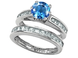 Original Star K Round Genuine Blue Topaz Wedding Set