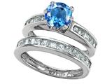 Original Star K™ Round Genuine Blue Topaz Wedding Set style: 305954