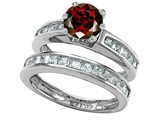 Original Star K™ Round Genuine Garnet Wedding Set